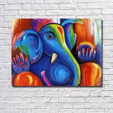 free handpainted new modern cute baby elephant oil painting on canvas paintings wall picture home