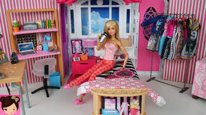 Barbie Youtube Morning Routine - Pink Bedroom Tour Make up Tutorial - Fun  Toy Videos
