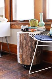 tree stump coffee table on wheel