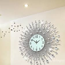 39 24 24in white round noctilucent dial iron and diamonds handmade battery hanging wall clock
