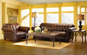 Leather Living Room Decorating Interior Charming Sunroom Dark Brown Leather Sofa Wooden