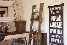 Vintage ladder used as decorative shelving