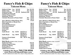Fancy Restaurant Menu Menu For Fancys Fish Chips Seafood Restaurant In Barrie