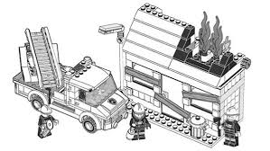 Small Picture Lego Duplo Firefighter Try to Extinguish Fire Coloring Pages