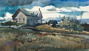 andrew wyeth the captain s house about 1936 watercolor 17 x 29 inches wichita art museum bequest of glenn l and jayne seydell milburn