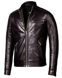 black corbani genuine biker leather jacket front zip