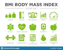 Diabetes Weight Chart Bmi Body Mass Index Icon Set Weight Height Bmi Machine