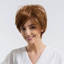 3059 Paruka Na Vlasy Bez Vlasů Přírodní Vlasy Volný Střih Pixie Krátké účesy 2019 Přírodní Vlasová Linie Hnědá Bez Krytky Paruka