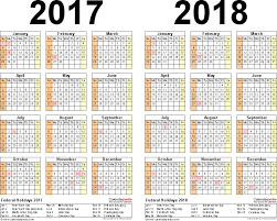 template 3 pdf template for two year calendar 2017 2018 landscape orientation
