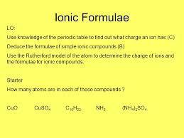 Ionic Formulae LO: Use knowledge of the periodic table to find out ...