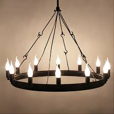 industrial round candle chandelier 12 light retro rustic porch ceiling fixture