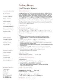Hotel Manager Resume Template Resume Sample