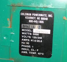 coleman powermate pm455022 11hp 5kw end cover smokstak Coleman Powermate 2250 Watt Generator Wiring Diagram click image for larger version name 11hp_tag jpg views 112 size 65 4 Coleman Powermate 2250 Manual