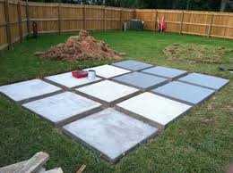 concrete slab patio. Julian Finished The Back Yard Patio! After Pouring All Concrete And Letting It Dry, He Painted Slabs With Grey Paint. This Serves To Seal In Slab Patio L