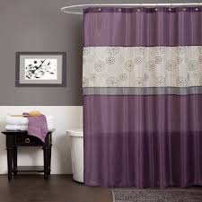 bathroom: Beautiful Shower Curtain Closed White Bath Tub Side Simple Towels  On Black Table Under