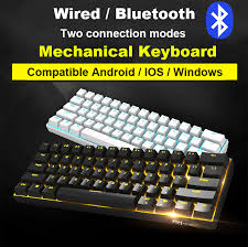 New 61 <b>Keys RK61</b> Bluetooth Wireless White LED Backlit ...