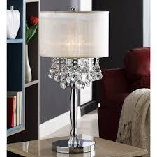 Bedside lamps. Silver Mist 3-light Crystal Chrome Table Lamp   Overstock.com