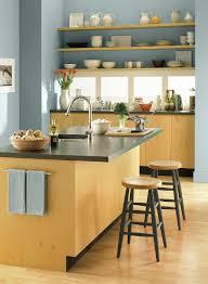 Accent Colors For Green Crisp Contemporary Kitchen Space Wall Color Santorini Blue