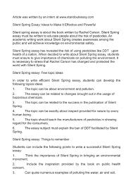 spring essay ideas silent spring essay ideas