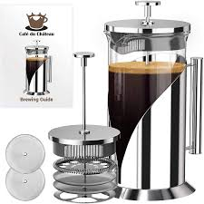 The technicalities coffee brewing is a science, and the main reason for bitter coffee is over extraction. Amazon Com Cafe Du Chateau French Press Coffee Maker Large 34 Oz Glass Carafe Stainless Steel Coffee Presses With 4 Level Filter Kitchen Dining