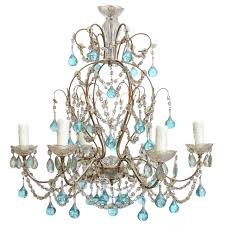 petite italian chandelier with accent blue murano glass drops and crystals for