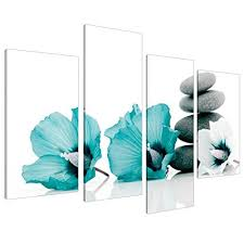 large teal grey and white lily floral canvas wall art pictures split set of 4 on large canvas wall art amazon with amazon large teal grey and white lily floral canvas wall art
