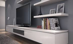 floating wall cabinet media round shape
