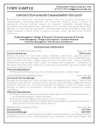 Sample Resume Format Impressive Project Management Resume Format Construction For Engineer Manager