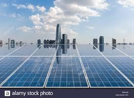 Eco City Solar Lights Solar Energy With City Skyline Stock Photo 175278938 Alamy