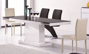 modern white and black extendable dining table
