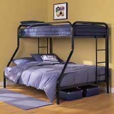 O Adorable Black Bunk Beds With Stair And Purple Blue Bed Linen  Pillowcase In Brown Bedroom