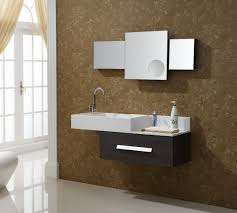 best bathroom vanities. Modern Wall Mounted Bathroom Vanity Unit Come With Single Large Drawer Wenge Wooden Cabinet And Integral Rectangle Sink Chromed Faucet Best Vanities