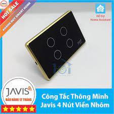 Hot: giảm 15%] Công tắc thông minh JAVIS 4 nút viền vàng. Công tắc cảm ứng  WIFI hỗ trợ Google/Alexa/Hass-MQTT