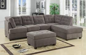 sofa with ottoman chaise. Brilliant With Burbank Charcoal Grey Waffle Suede Sectional Sofa With Reversible Chaise To With Ottoman