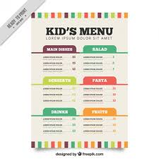 Flat Menu Template For Kids Vector Free Download