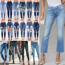 Details About Womens Ripped Jeans High Waist Slim Fit Ladies Skinny Denim Sizes 6 To 16 Uk