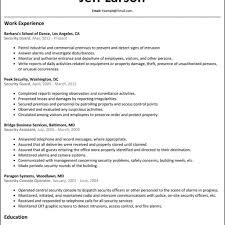Security Supervisor Resume Format Resume Format For Security