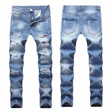 Designer Pants 2020 Designer Mens Ripped Jeans Pants Slim Fit Light Blue Denim Joggers Male Distressed Destroyed Trousers Button Fly Pants
