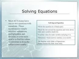 19 solving equations most act exams
