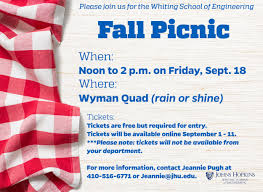 Picnic Flyers Wse Fall Picnic Johns Hopkins Whiting School Of Engineering