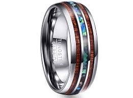 Tungsten Carbide Ring Size Chart Vakki 8mm Hawaiian Koa Wood And Abalone Shell Tungsten