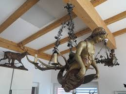 carved wooden chandelier mermaid
