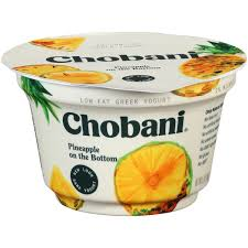 chobani pineapple on the bottom 2 low fat greek yogurt