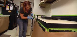 Image Wood Using Special Countertop Paint To Paint Plastic Laminate Countertops Todays Homeowner Tips For Painting Plastic Laminate Kitchen Countertops Todays