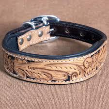 heavy duty handmade genuine leather beaded hand tooled dog collar tan black zoom