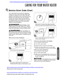 Caring For Your Water Heater Service Error Code Chart