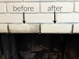 before and after using the cleaner for how to clean a fireplace firebox thediybungalow