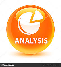 Analyse Grafik Symbol Glasig Orange Runden Knopf Stockfoto