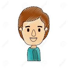 色クレヨン ストライプ似顔絵側ビュー半身男の子髪型ベクトル イラストの