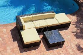 6 Piece Modern Wicker Outdoor Patio Furniture Sectional Sofa w